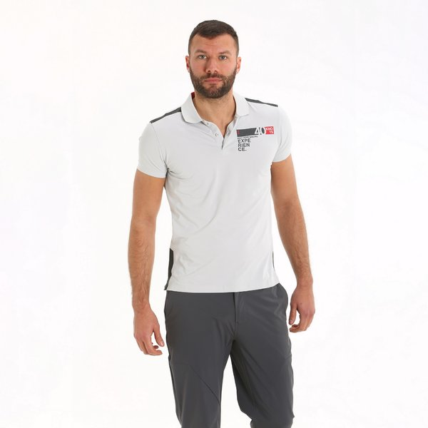 Men's polo shirt E95 in two-button technical fabric