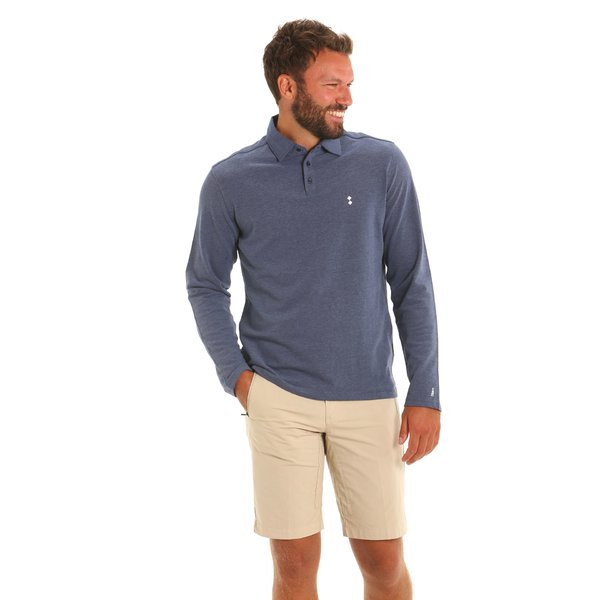 Men polo shirt LS E69 long-sleeve in oxford cotton pique
