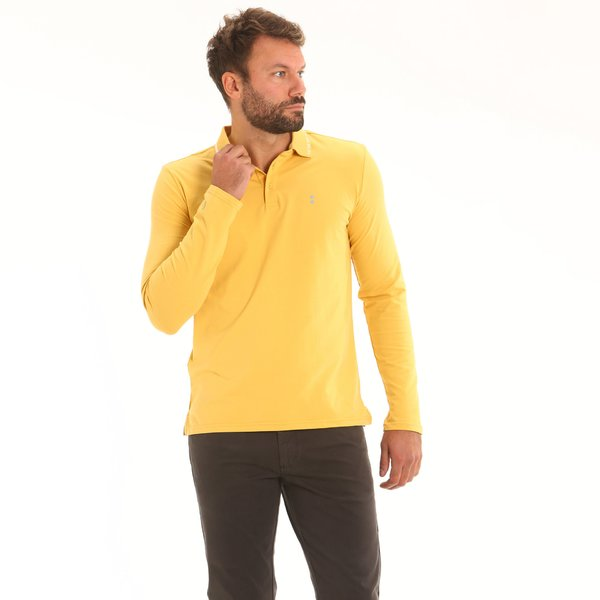 Men polo shirt F119 long-sleeve in stretch cotton