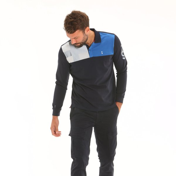Men long-sleeve polo shirt F109 in cotton