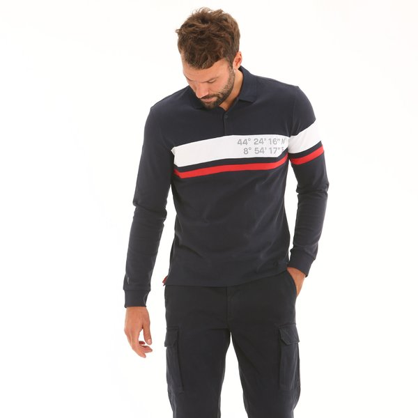 Men polo shirt F110 long-sleeve in jersey