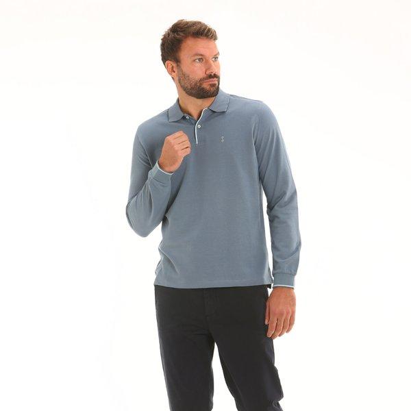 Two-button men long-sleeve polo shirt in double cotton pique