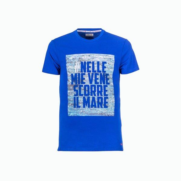 T-Shirt uomo C166 in cotone con stampa tema marino