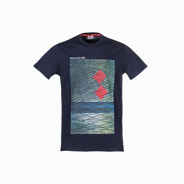 Camiseta hombre C168 de algodón con impresión en el medio