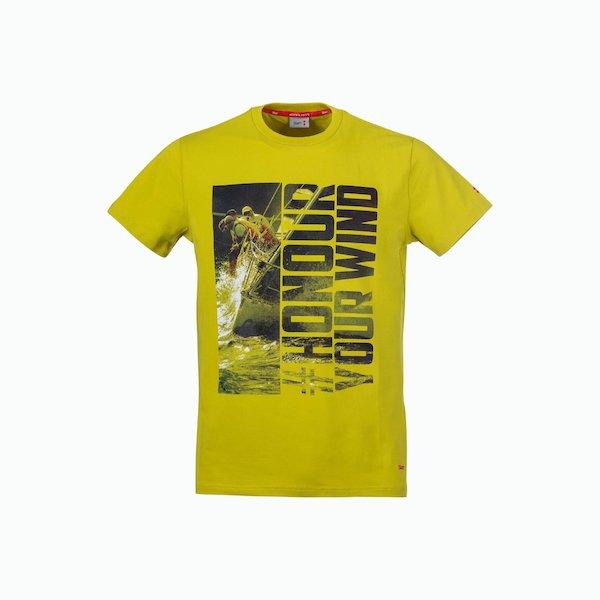 Camiseta hombre C171 con collar en algodón con impresión