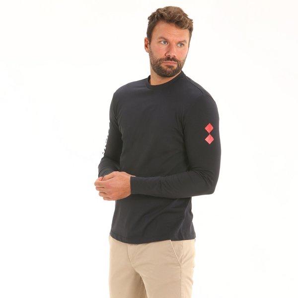 Camiseta para hombre LS D309 de manga larga y cuello caja