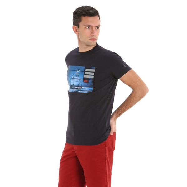 T-shirt a manica corta in stretch jearsey Uomo E98