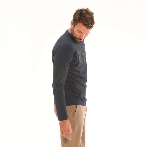 Crew-neck Men's long-sleeve t-shirt F130 in stretch cotton