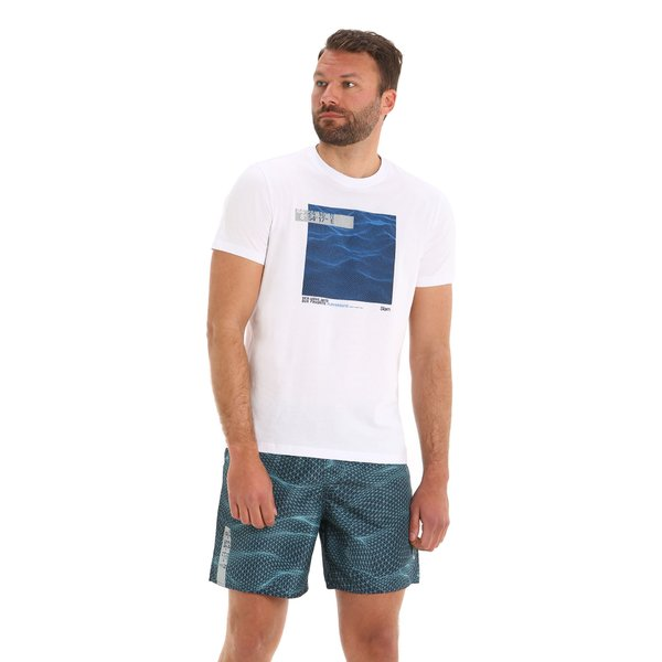 Camiseta para hombre G101 de manga corta y cuello caja en algodón