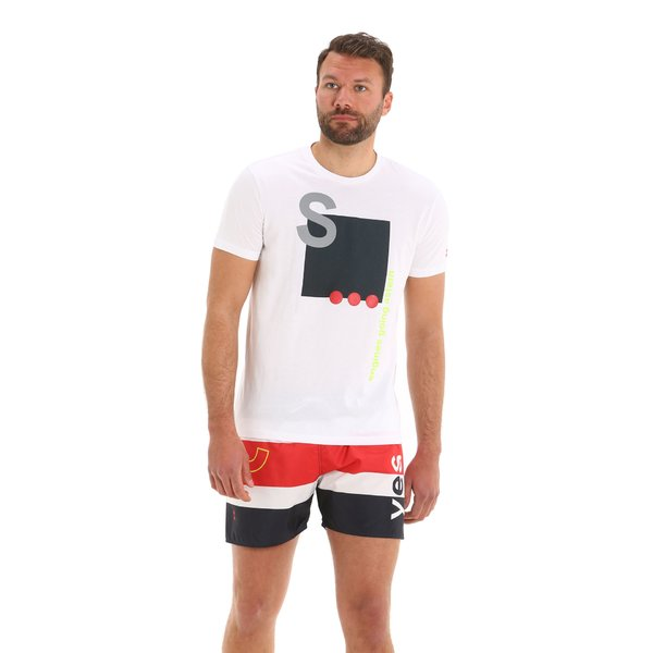 Camiseta para hombre G97 de manga corta y cuello caja en algodón