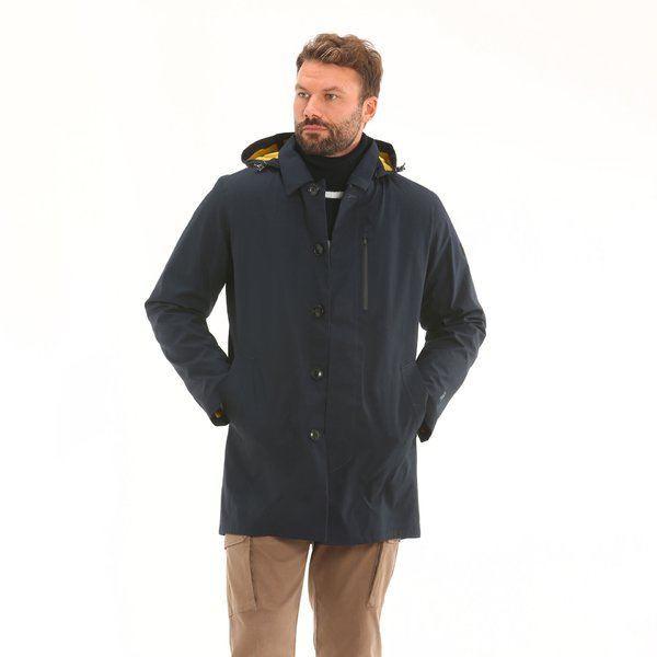 Cappotto impermeabile tecnico uomo D14 in cotone con cappuccio staccabile