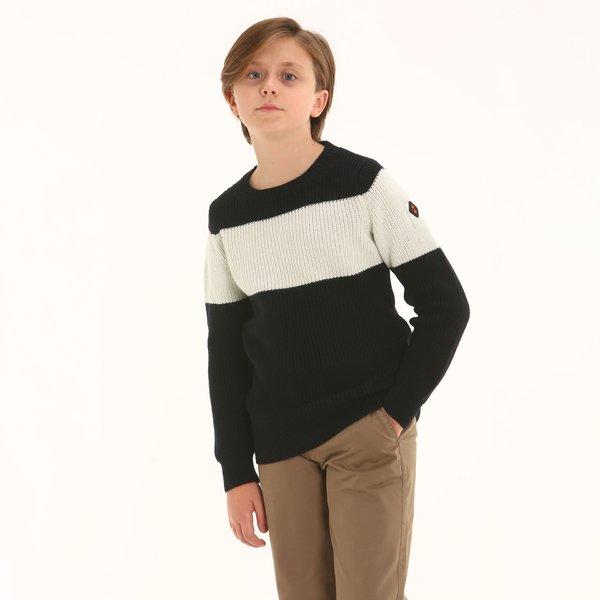 Suéter júnior D98 de cuello caja en mezcla de merino técnico