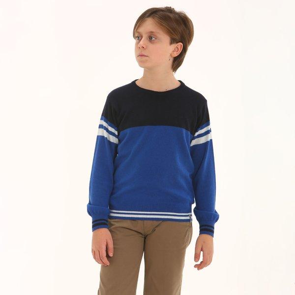 Suéter niño F321 de cuello caja en mezcal de cachemir