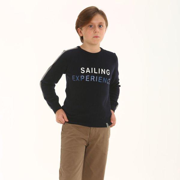 Suéter niño F326 de cuello caja en mezcal de cachemir