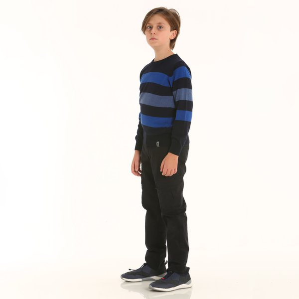 Pantalone junior cargo D400 in stretch twill di cotone