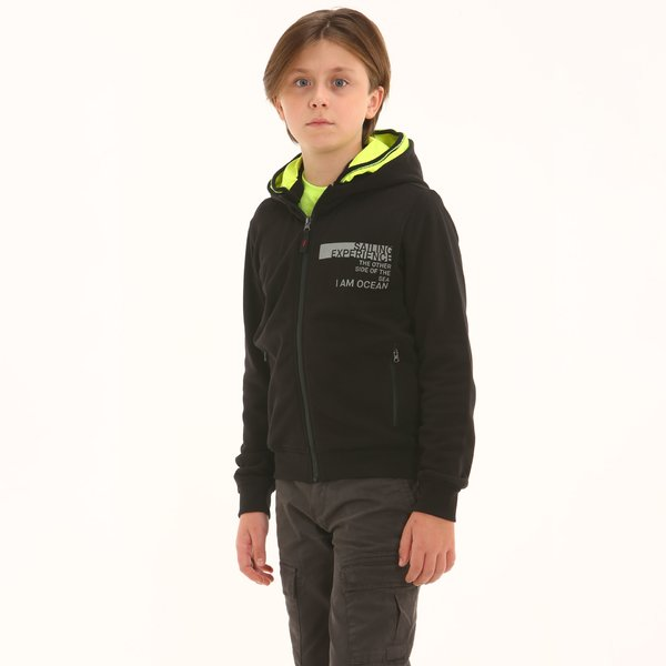 Junior sweatshirt F346 with zip and double hood