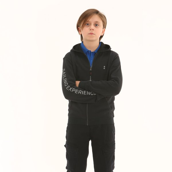 Felpa bambino F338 a zip in cotone con cappuccio
