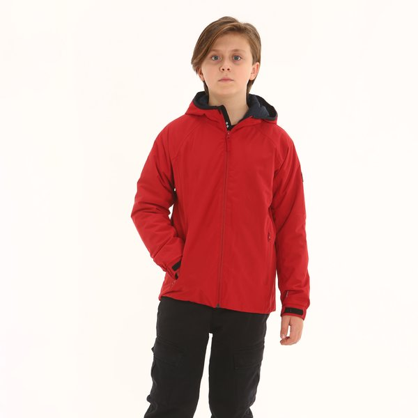Giacca Junior in mechanical stretch con cappuccio