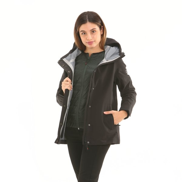 Women's jacket F212 with hood and detachable internal quilting