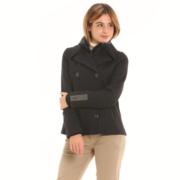 Wool women peacoat F215 with internal quilting