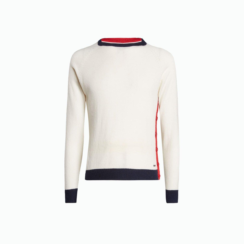 Maglione B118 - Bianco / Navy / Rosso
