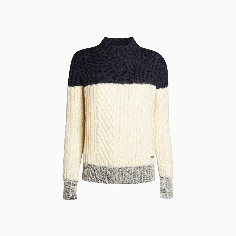 Pullover B119 - Marineblau / Weiss