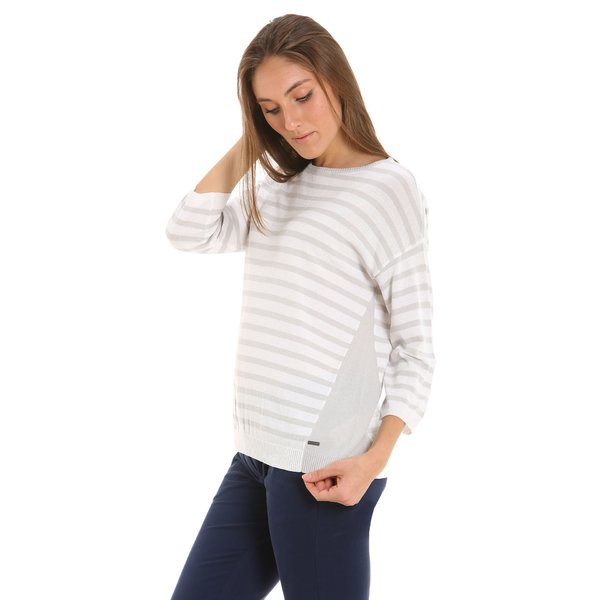 Women's sweatshirt E211 with boat neckline and 3/4 sleeve