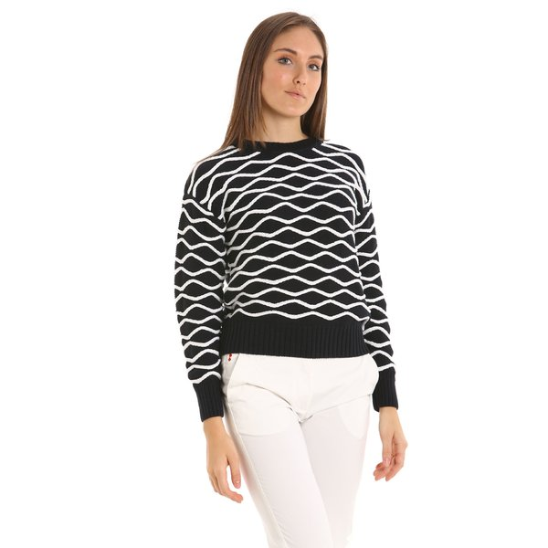 Suéter de mujer E217 mezcla de algodón cuello redondo