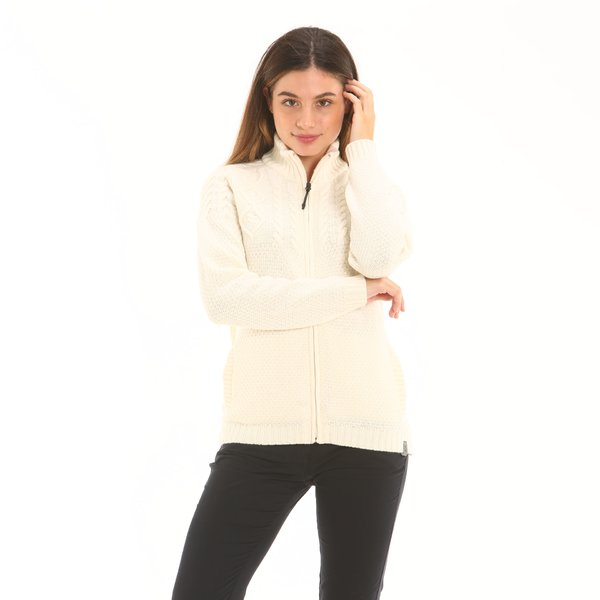 Solid-colour women zip cardigan F257 in soft  lambswool