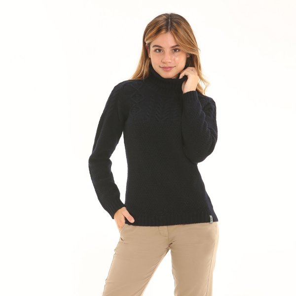 Women lambswool blend, solid-colour polo-neck jumper F28
