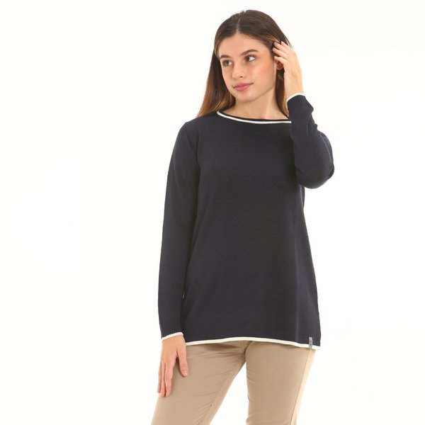 Italian-made wool blend crew-neck women jumper F252