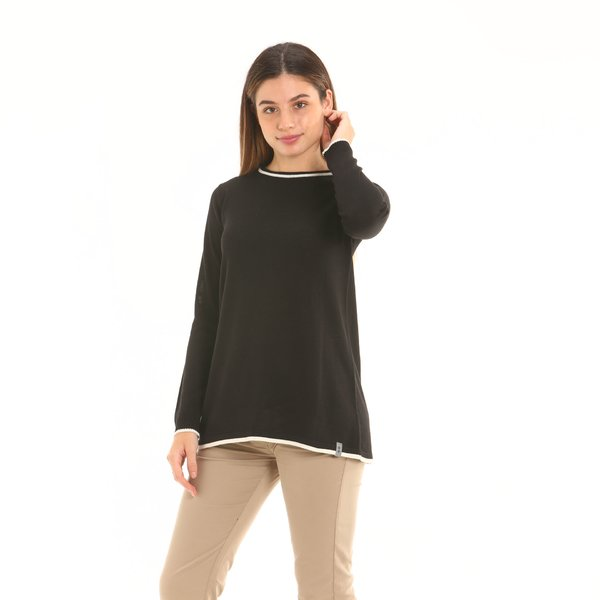 Pull femme F252 ras du cou Made in Italy en laine mélangée