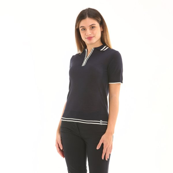 Italian-made tricot wool blend women's polo shirt F250