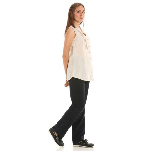 Damenhose E270 aus Leinen mit zwei seitlichen Taschen