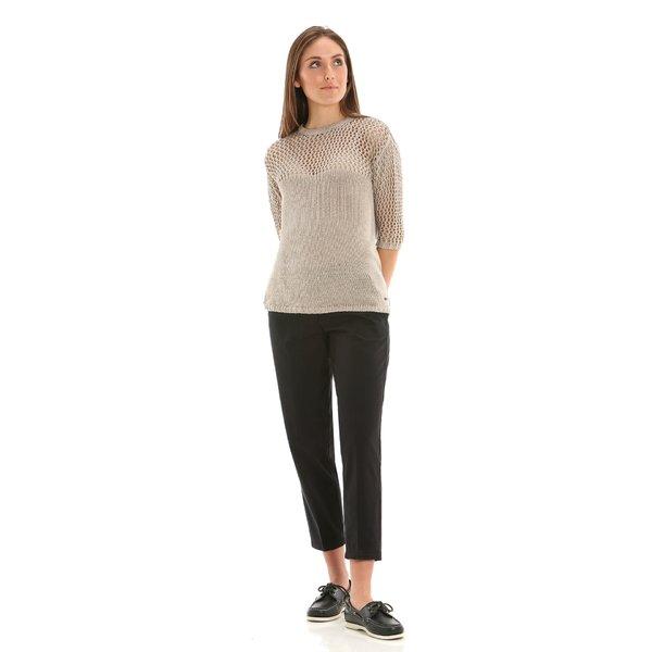 Pantalón chino para mujer E263 en sarga de algodón elástico