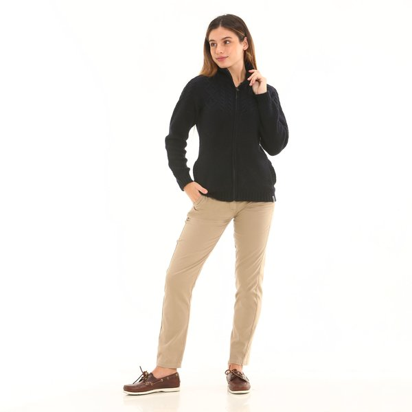 Women trousers F282 chinos in stretch satin