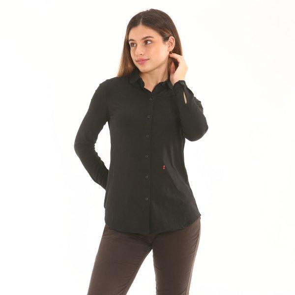 Camisa mujer D753 de color liso en punto de algodón