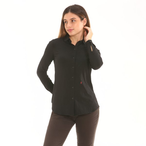 Chemise femme D753 de teinte unie en jersey de coton élastique