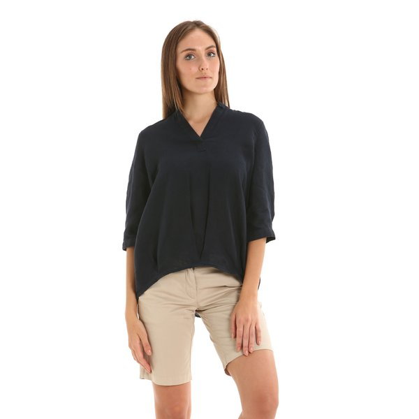 Camisa para mujer E258 en lino con escote en V
