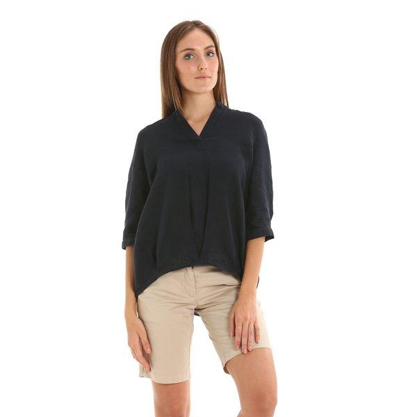 Camicia donna E258 in lino con scollo a V