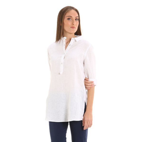 Women shirt E259 long-sleeve 100% linen
