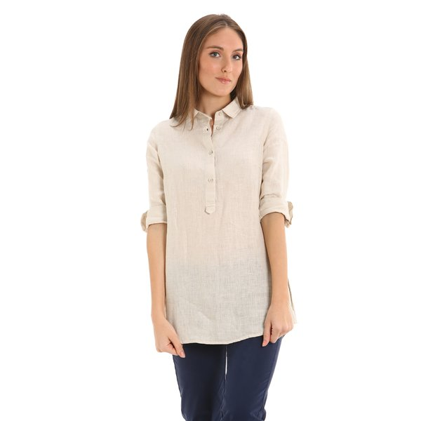 E259 women's linen shirt with side vents