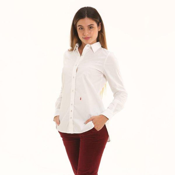 Camicia donna F272 a manica lunga in stretch popeline