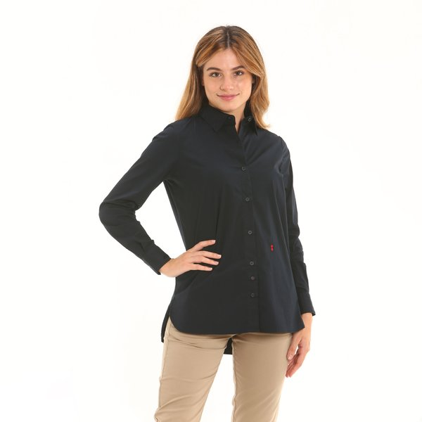 Camiseta mujer F272 de manga larga en popelín elastizado