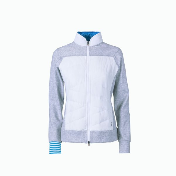 Felpa donna A17 a zip con parti in felpa interlock