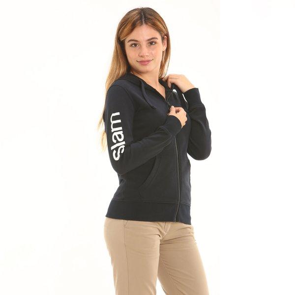 Felpa donna D656 con zip e cappuccio in cotone