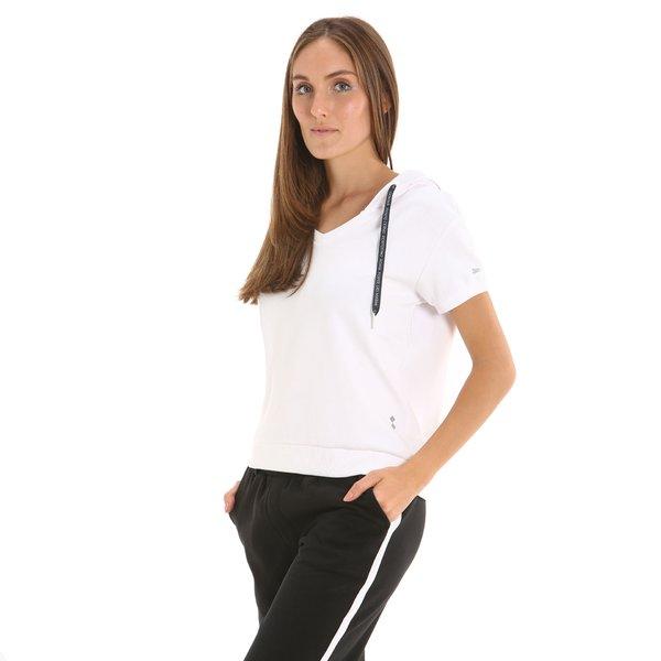 Sudadera E223 para mujer con cuello en V y manga corta