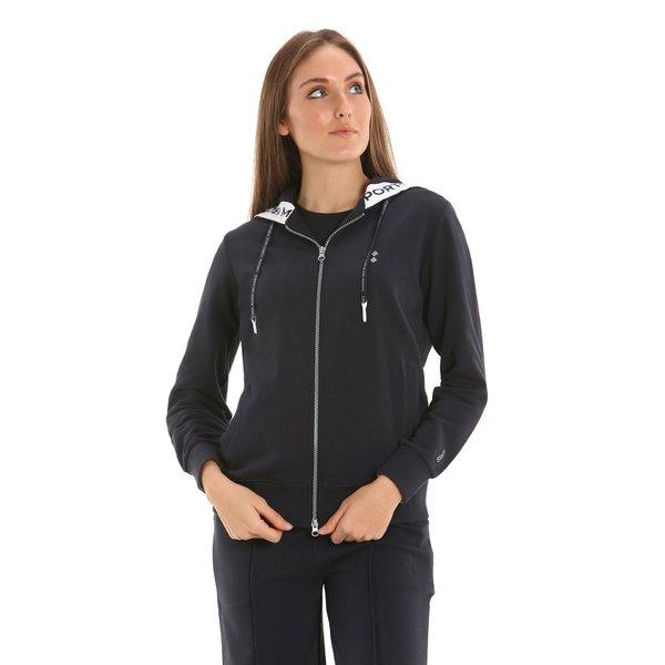 Felpa donna E231 con zip e cappuccio in cotone