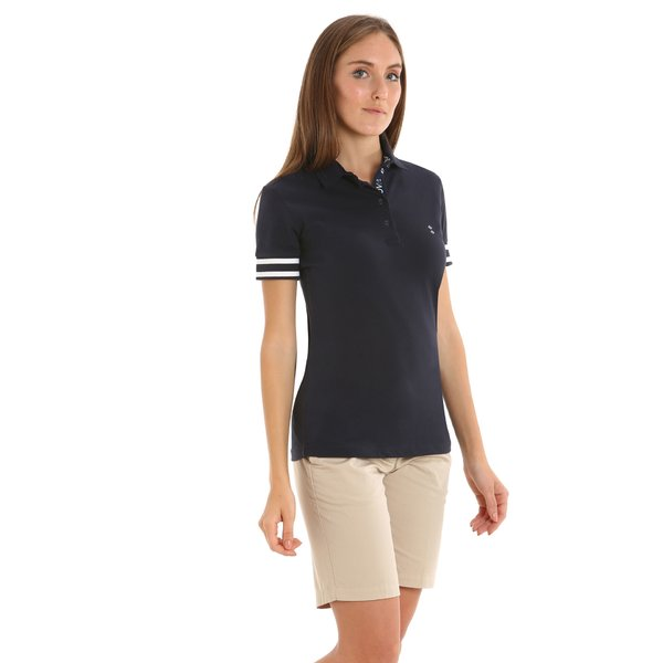 Women polo shirt E255 in stretch cotton pique with four buttons