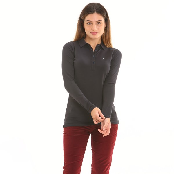 Long-sleeve women polo shirt in stretch cotton jersey
